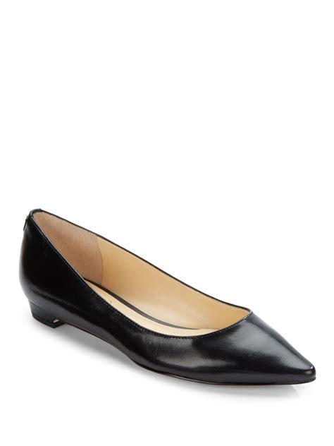 ivanka flats shoes ivanka leather classic point toe flats in black lyst