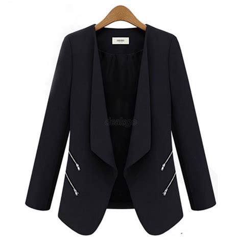 Blazer Casual Black Zipper fashion s slim casual suits blazer lapel zipper ol sleeve jacket coat ebay