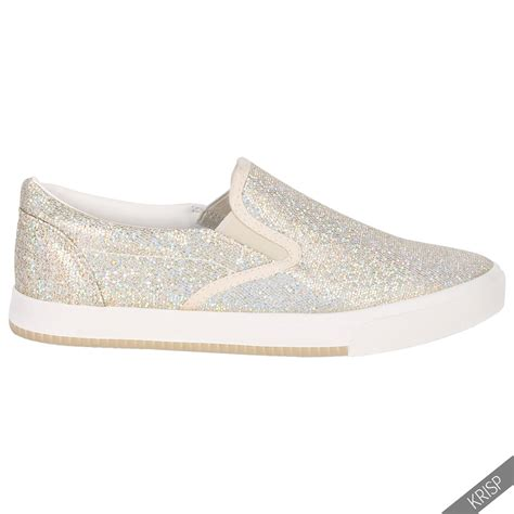 flat slip on shoes for floral glitter slip on plimsolls trainers