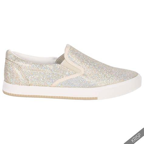 floral glitter slip on plimsolls trainers