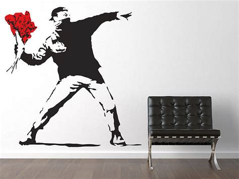 Kidscapes Wall Stickers large banksy throwing flowers wall sticker by the binary