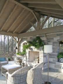 Outdoor Covered Patio Fireplace