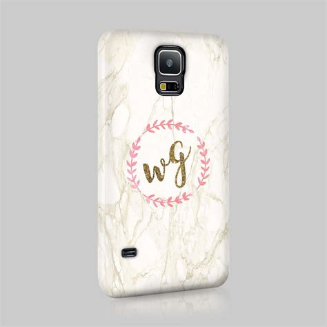 personalised golden marble glitter initials custom phone