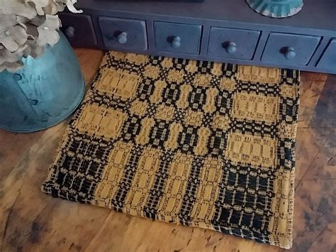 primitive country woven black mustard table runner