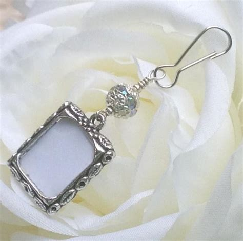 photo jewelry wedding bouquet photo charm sparkly bridal bouquet charm
