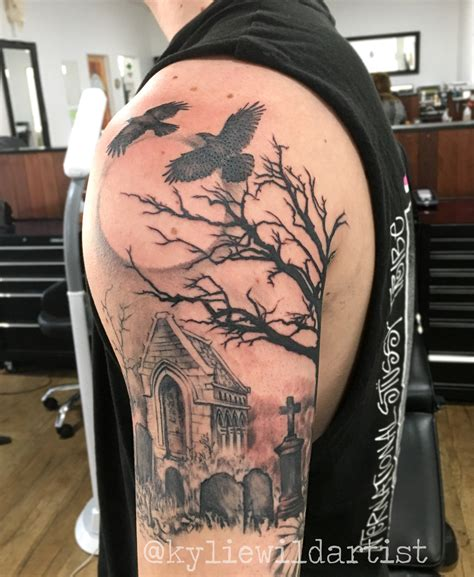 collection of 25 graveyard and tree tattoos
