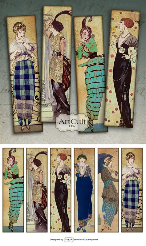 printable bookmarks vintage fashionable vintage bookmarks digital collage sheet by artcult