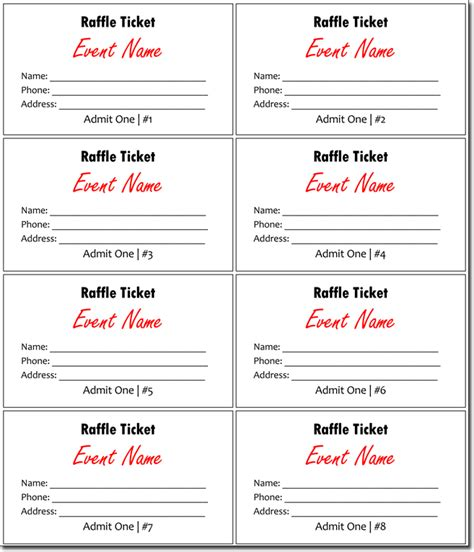 Excel Ticket Template 20 Free Raffle Ticket Templates With Automate Ticket Numbering