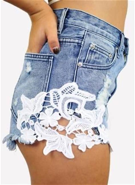 Shorts 40709 Blue Lace Side S denim blue jean shorts w side lace detail ustrendy