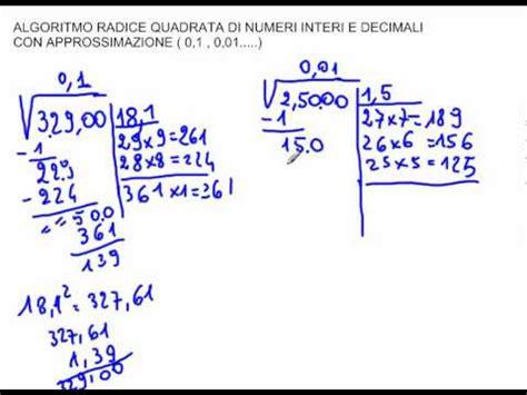 tavole radice quadrata algoritmo radice quadrata con approssimazione al decimo