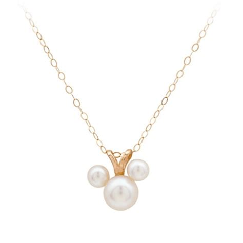 disney necklace pearl mickey mouse icon 14 kt gold