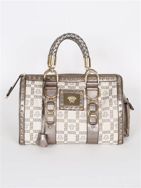 Versace Metallic Jacquard Snap Out Of It Bag by Versace Snap Out Of It Medusa Jacquard Boston Luxury Bags