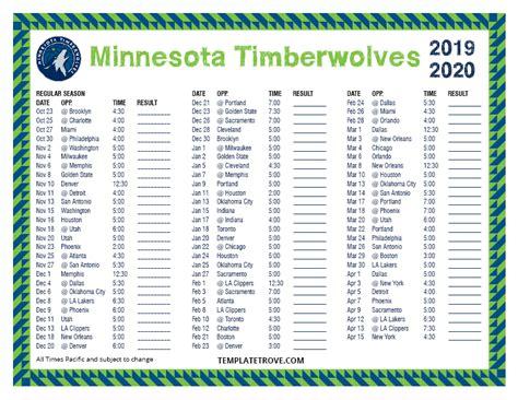 printable   minnesota timberwolves schedule