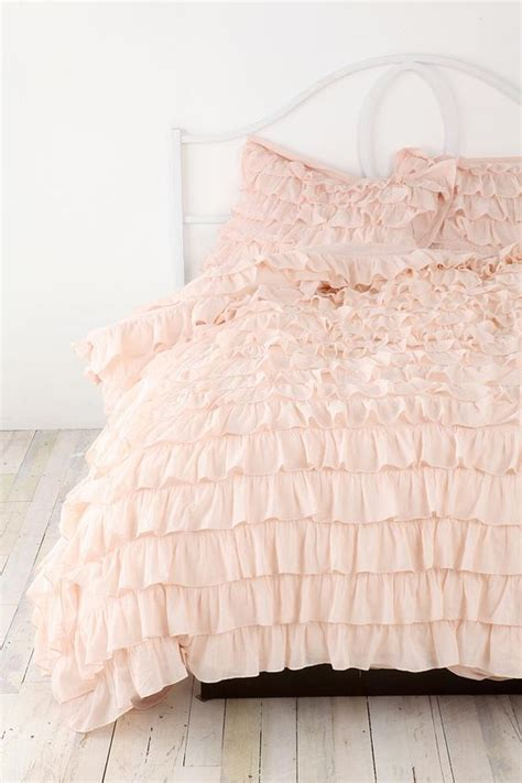 beautiful bed bedroom delicate girly i want image plum bow waterfall ruffle sham set fluffy comforter