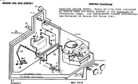 craftsman lawn tractor wiring diagram craftsman lawn tractor parts model 502255321 sears partsdirect