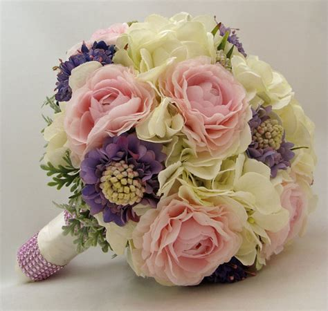 Silk Flowers Wedding Bouquet by Pink Periwinkle Silk Flower Bridal Bouquet Groom S