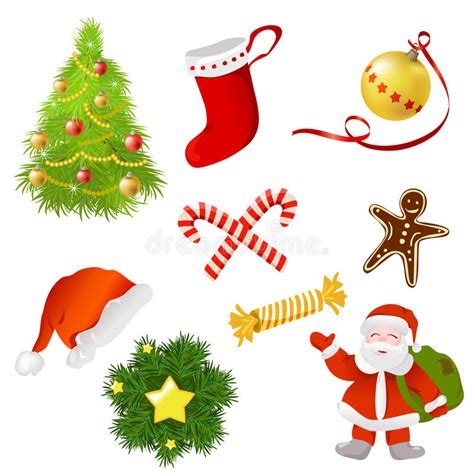 set of christmas items stock vector image of vector