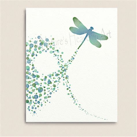 turquoise wall decor dragonfly art print 8 x 10 polka dot