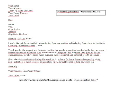 how to format a resignation letter sample of resignation letter