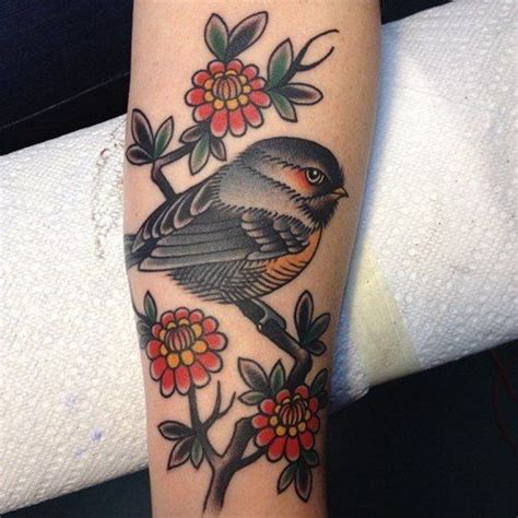 traditional bird tattoo 17 best ideas about finch on floral arm