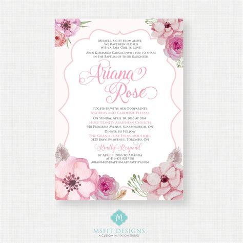 Dedication Invitation Card Template by Baptism Invitations Printable Baptism Invitations