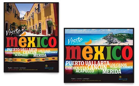 Mexico Travel Poster Template Design Mexico Brochure Template
