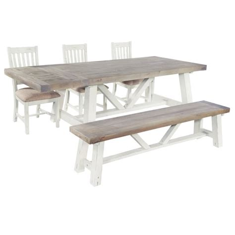 extendable dining table with bench distressed dining package dining bench chair
