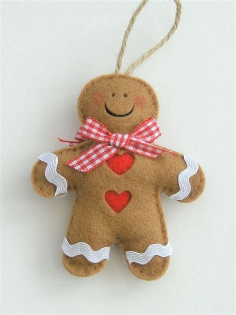 handmade felt gingerbread man christmas decoration craft