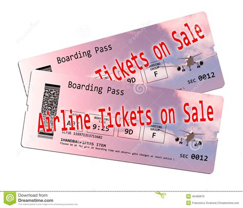 airline ticket on sale stock photo image 45490879
