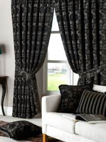 Thick Black Curtains Dulux Luxury Heavy Thick Cut Velvet Black Eyelet Curtain Curtains Uk