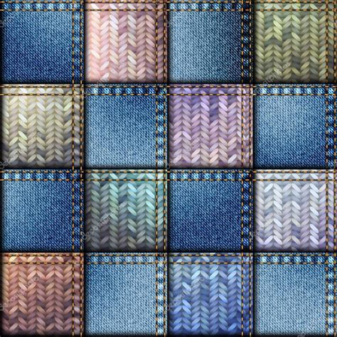 Denim Patchwork Fabric - patchwork of denim fabric stock vector 169 kastanka 81802656