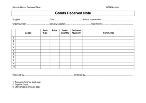 Material Receipt Form Template by Material Receipt Notes View Specifications Details Of
