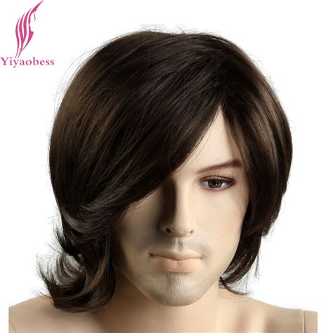 amazon com men s short dark brown wigs short wigs middle yiyaobess 12inch little wavy short dark brown mens wigs