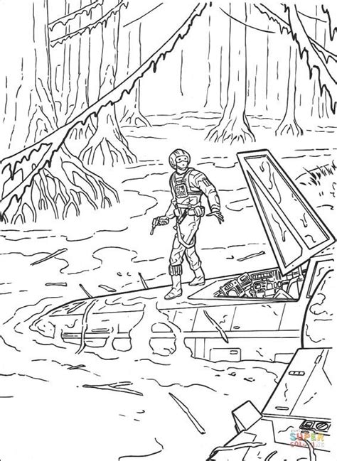 empire strikes back coloring pages luke skywalker dagobah landing coloring page free