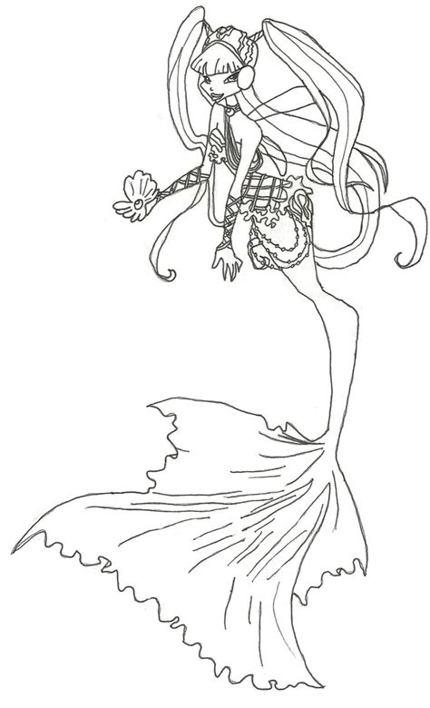 colour my sketchbook bloom winx club mermaid musa coloring page by winxmagic237