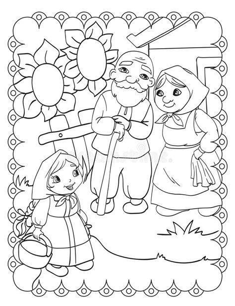 Livro Para Colorir Das Avós Ilustração do Vetor