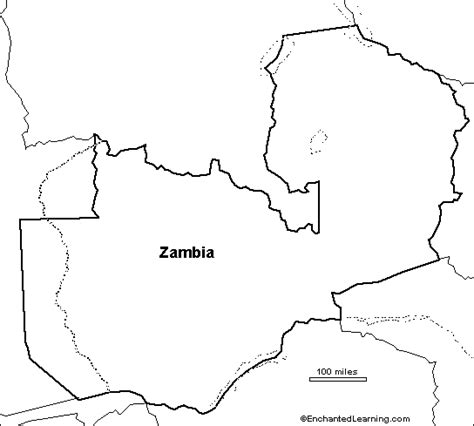 printable map of zambia outline map zambia enchantedlearning com