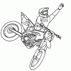 Colouring motocross jump freestyle xgames coloring