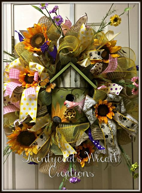 deco mesh  burlap wreath  sunflowers birdhouse