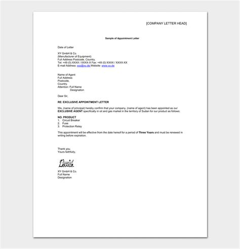 appointment letter format for gm marketing appointment letter template 14 sle letters