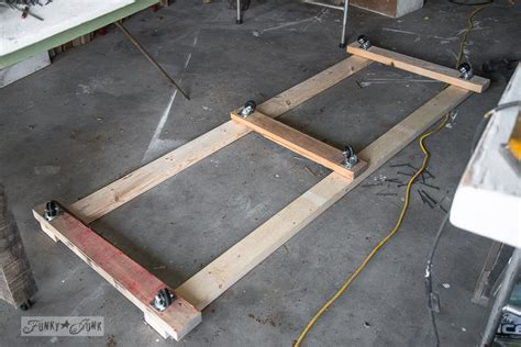 Wood Storage Cart Under A Farm Table Workbenchfunky Junk