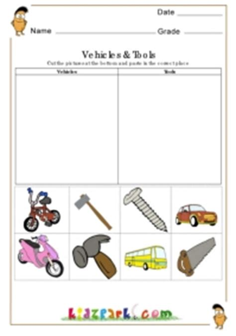 Science Tools Worksheet Kindergarten by Vehicles And Tools Worksheets Kindergarten Printable