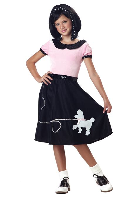 50 girl halloween costumes girls 50 s sock hop costume kids 50 s poodle skirt sock