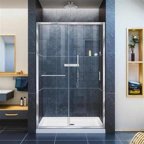 48 Sliding Shower Door Shop Dreamline Infinity Z 44 In To 48 In Frameless Chrome Sliding Shower Door At Lowes