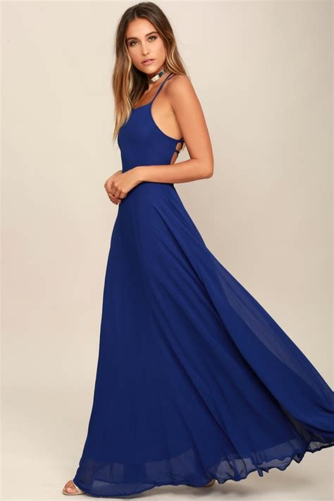 Dress Blue 31 chic royal blue dress lace up dress backless maxi dress