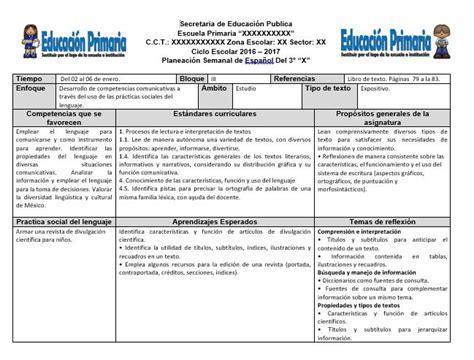 planificacion anual primer grado de primaria 2016 planeaciones del tercer grado para el tercer bloque ciclo