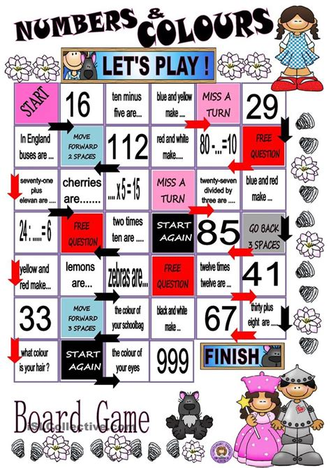 printable numbers board numbers and colours board game para minhas aulas