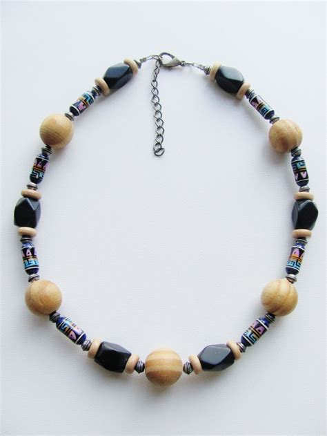 beaded necklaces mens large wood black s surfer beaded