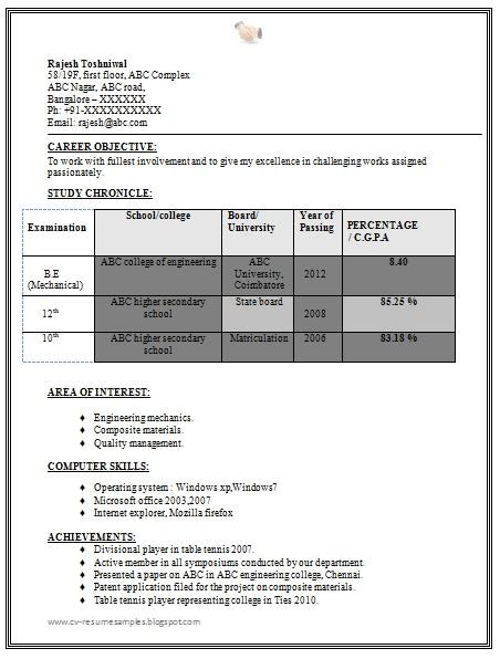 mechanical engineering resume format free resume format for mechanical engineering students best