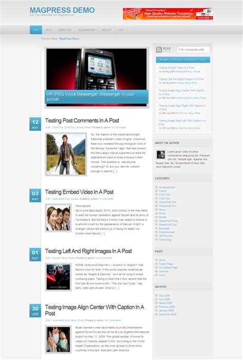 wordpress themes free horizontal free wordpress theme ksyk magpress com